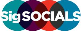 SigSocials in white text against four overlapping circles, which are teal, purple, orange and blue